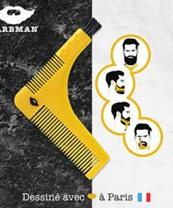 BARBMAN-Double-peigne--barbe-pour-un-rasage-prcis-des-contours-avec-brossette-de-nettoyage-pour-rasoir-cadeau-idal-pour-hipster-barbu-0