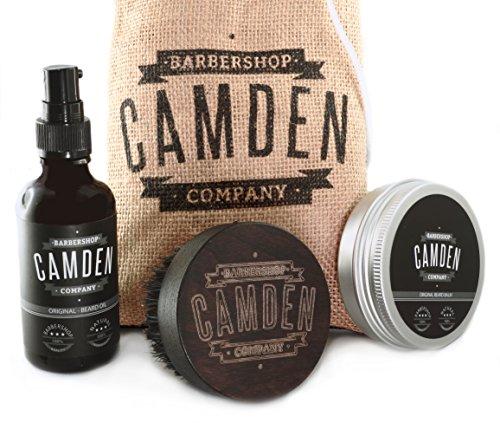 Camden compagny barbershop kit cadeau coffret brosse peigne barbe sanglier santal